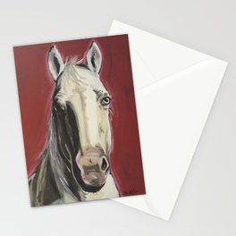 Horse Art, Red Horse Painting, Animal Art Stationery Cards