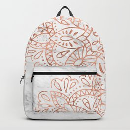 Rose Gold Mandala on Marble Backpack