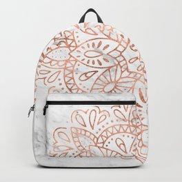 Rose Gold Mandala on Marble Backpack