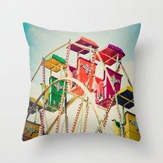 Colorful Ferris Wheel Cars Throw Pillow