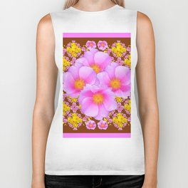Chocolate Brown Pink Wild Roses Pattern Art Biker Tank