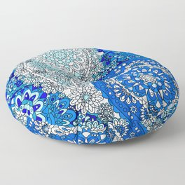 Retro 1960's Paisley Pattern in Cerulean Blue and Aqua Floor Pillow