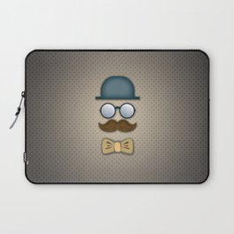 Blue Top Hat, Moustache, Glasses and Bow Tie Laptop Sleeve