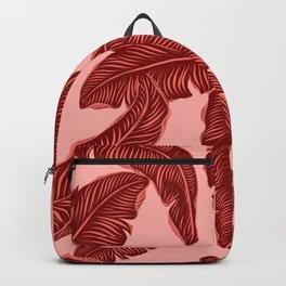 Banana leaves tropical leaves orange Backpack