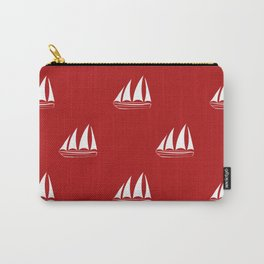 White Sailboat Pattern on red background Carry-All Pouch