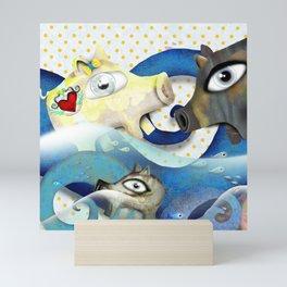 Bahamas swimming pigs surfing waves Mini Art Print