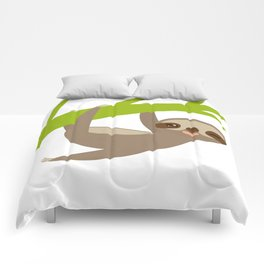 funny and cute smiling Three-toed sloth on green branch Comforters