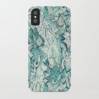 fig iPhone & iPod Cases featuring Fig Leaf Fancy - a pattern in teal and grey by micklyn