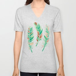 Watercolour Feathers - Greenery and Copper Unisex V-Neck