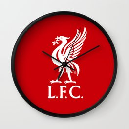 Liverpool FC White on Red 2017 Logo Wall Clock