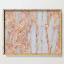 Pink Marble with Golden Lines Serving Tray