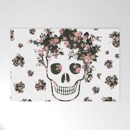 Flower Skull, Floral Skull, Pink Flowers on Human Skull Welcome Mat