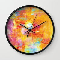 clueless Wall Clocks featuring OFF THE GRID Colorful Pastel Neon Abstract Watercolor Acrylic Textural Art Painting Nature Rainbow  by EbiEmporium