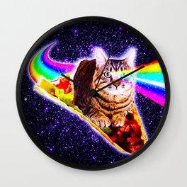 Rainbow Laser Eyes Galaxy Cat Riding Taco Wall Clock