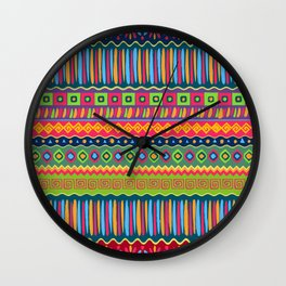 African abstract geometric pattern Wall Clock