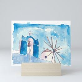 Santorini Oia Greece Windmill and Bell Tower Mini Art Print