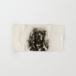 Cavalier King Charles Spaniel Puppy Sketch Hand & Bath Towel