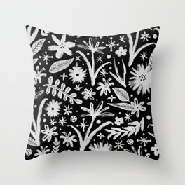 brushy black and white floral Throw Pillow