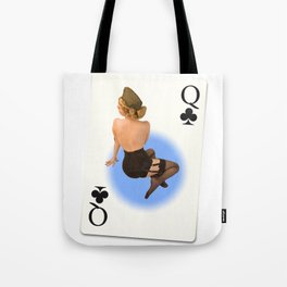 """Queen of Clubs"" - The Playful Pinup - Vintage Black Lingerie Pinup by Maxwell H. Johnson Tote Bag"