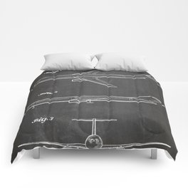 Boeing 777 Airliner Patent - 777 Airplane Art - Black Chalkboard Comforters