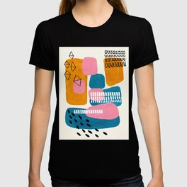 Mid Century Modern abstract Minimalist Fun Colorful Shapes Patterns Pink Teal Yellow Ochre Bubbles T-shirt
