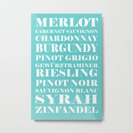 Wine Celebration - Mint Blue Metal Print