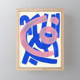 Tribal Pink Blue Fun Colorful Mid Century Modern Abstract Painting Shapes Pattern Framed Mini Art Print