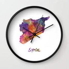 Syria in watercolor Wall Clock