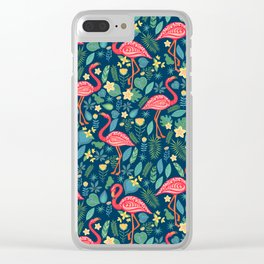 Flamingo Blue Pattern Clear iPhone Case