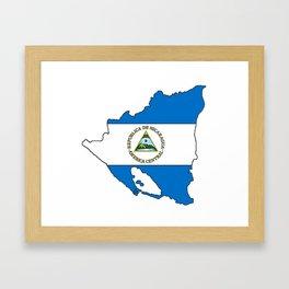 Nicaragua Map with Nicaraguan Flag Framed Art Print