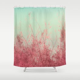 Harmony (Mint Blue Sky, Coral Pink Plants) Shower Curtain
