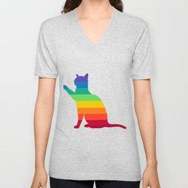 LGBT Rainbow Gay Pride Cat Unisex V-Neck