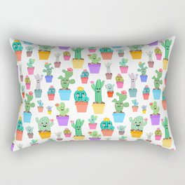 Sunny Happy Cactus Family Rectangular Pillow