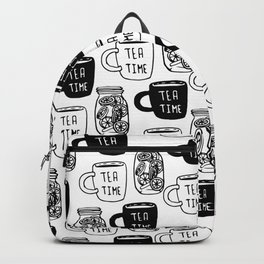 Abstract black white tea cups modern typography Backpack