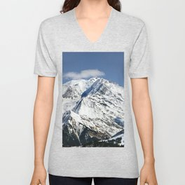 Mt. Blanc with clouds Unisex V-Neck