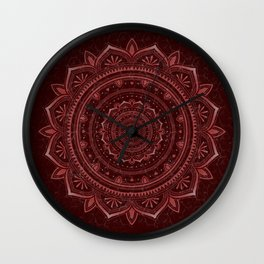 Dark rose glow mandala Wall Clock