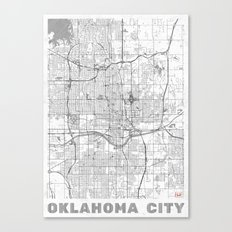 Oklahoma City Map Line Canvas Print