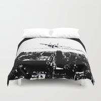 airplane Duvet Covers featuring airplane by Anand Brai