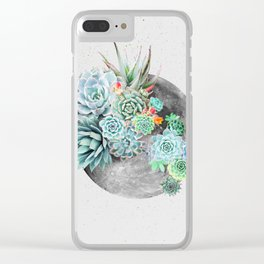 Moon, Plant, Succulent, Space, Collage, Modern, Minimal Art Print Clear iPhone Case