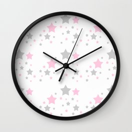 Pink Grey Gray Stars Wall Clock