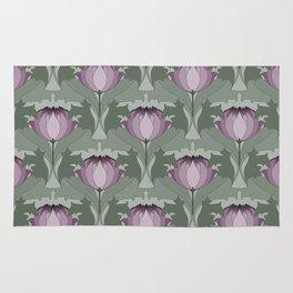 Lavender Flowers Art Nouveau Inspired Floral Pattern Rug