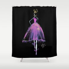 Hot Pink Fashion Illustration Shower Curtain