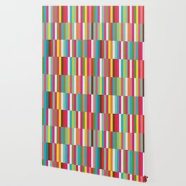 Bright Colorful Stripes Pattern - Pink, Green, Summer Spring Abstract Design by Wallpaper