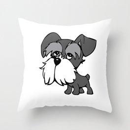 Cartoon Miniature Schnauzer Throw Pillow