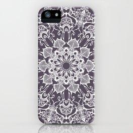 hand drawn white mandala on dark violet background iPhone Case