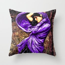 Boreas 1903 by John William Waterhouse in purple decor Throw Pillow