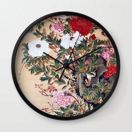 12,000pixel-500dpi - Ito Jakuchu - Peony - Digital Remastered Edition Wall Clock