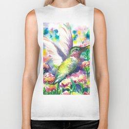 Hummingbird in flowers Biker Tank