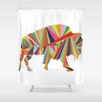 buffalo Shower Curtains featuring Buffalo by Alex Dehoff