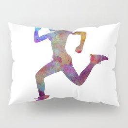 woman runner running jogger jogging silhouette 01 Pillow Sham